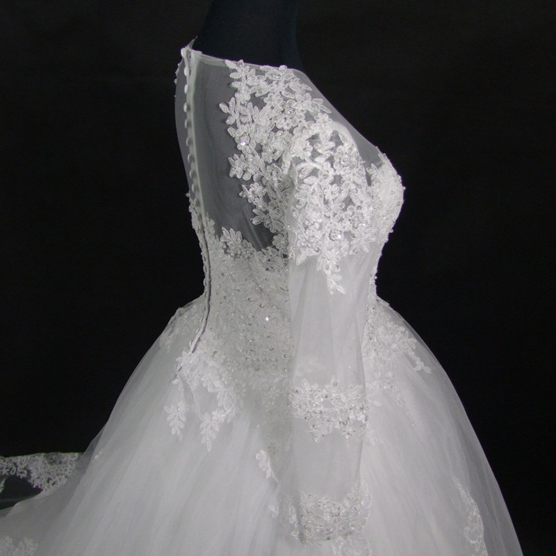 Wedding Dress Vintage Bohemian Lace Long Sleeve Ball Gown Wedding Dresses 2017 Luxury Pearls White Bridal Dress Vestido De Noiva 5