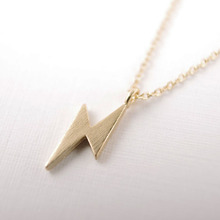 Lovely Lightening Bolt Pendant Necklace Gold And Silver Plated Chain For Women Gift Free Shipping Wholesale(China)