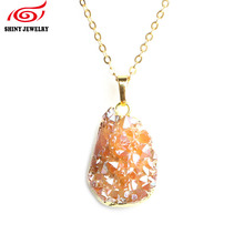 Fashion Titanium Rose Gold Crystal Rock Pendants & Necklace Women Jewelry 24k Gold Plating Natural Druzy Quartz Stone Necklaces
