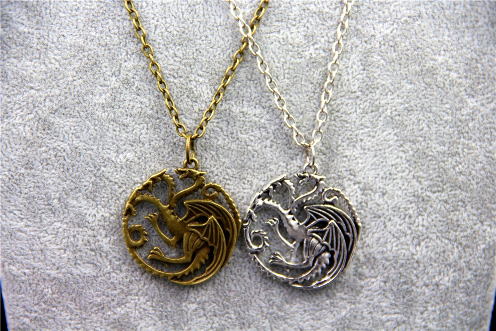 Fashion Jewelry Vintage Charm Song Ice Fire Game Thrones Targaryen Dragon Badge Necklace