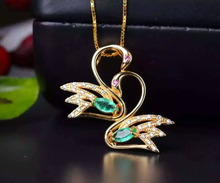 natural green emerald stone pendant S925 silver Natural gemstone Pendant Necklace trendy Elegant Couple swans women jewelry(China)