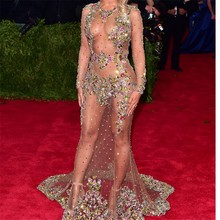 Long Sleeve Sheer Crystal Mermaid Beyonce Celebrity Dresses 2016 Met Gala Colorful Beaded Backless Long Red Carpet Dresses