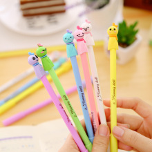 6 Pcs / Lot Kawaii 3d Color Sunny Doll 0.38mm Black Ink Gel Pen Diy Signature Pen Office School Stationery Supplies Wholesale