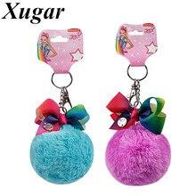 Cute Pompom jojo siwa Keychain For Girls Handmade Rainbow Knot Ball Key Chain Women Car Styling Bag Charms Jewelry(China)
