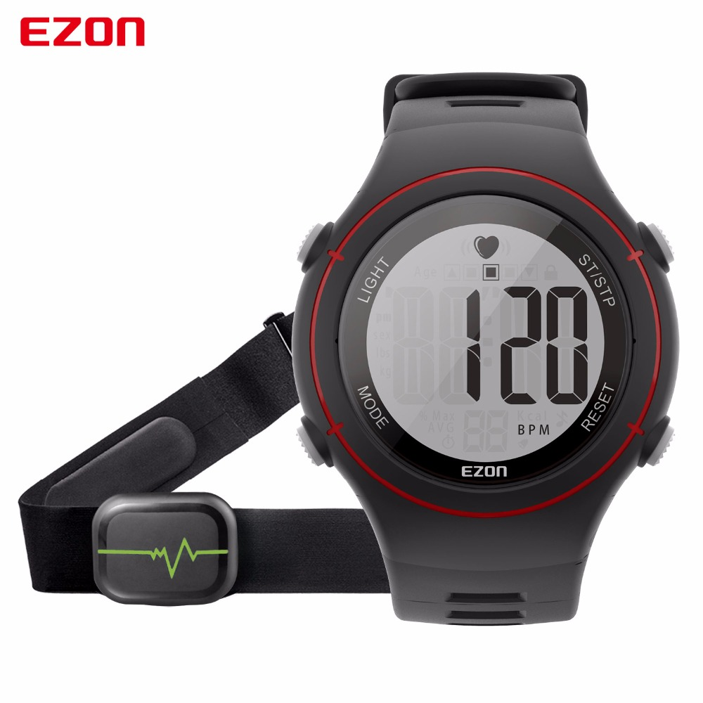2017 New Ezon Fashion Runing Heart Rate Monitor Digital Watch 50M Waterproof Men Sports Stop Watch <br>