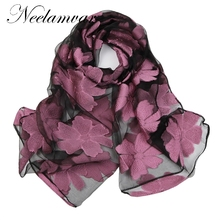Neelamvar 2017 Brand bandana Silk Scarf Women Luxury hijab Embroidery Long Scarf black Lace yarn Scarves Fashion Shawl Foulard(China)