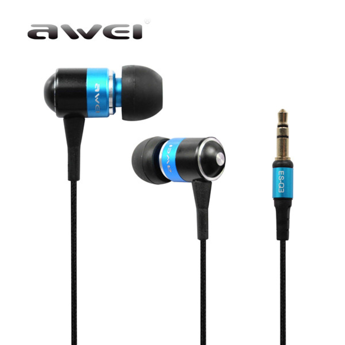 Fashion In-Ear Earphone Awei ES Q3 Stereo Earbuds Super Bass Sound Isolation Headset For iPhone Smartphone MP3/MP4 Players<br><br>Aliexpress