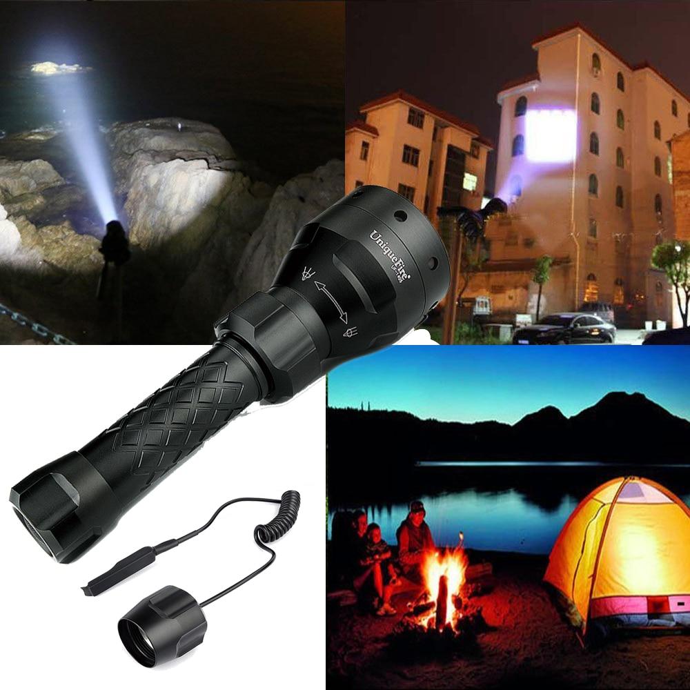 UniqueFire UF-1405 XM-L2 Flashlight 1200LM 5 Modes 67mm Lens Adjustable Focus LED 18650 Tactical Torch+Rat Tail<br><br>Aliexpress