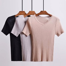 Women's winter sweaters Short sleeve V collar Female Linen sweater Real shot computer flat knitting machine women HL1618