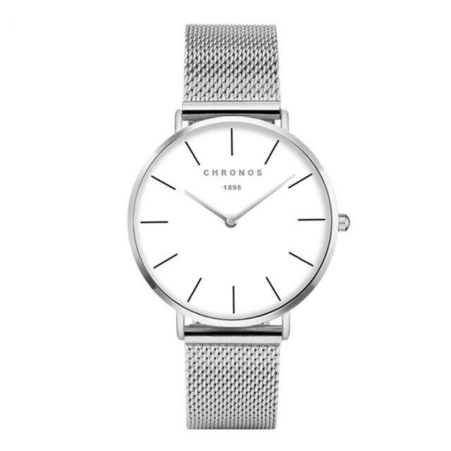 CHRONOS 1898 Luxury Watch Silver Casual Quartz Watch Alloy Mesh Watch 40mm Clock Women Watches Ladies watch CH0237
