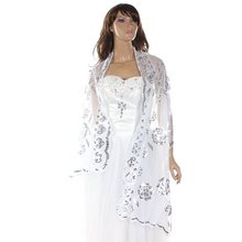 Women Bridal Shawl Bolero Lace Sequins Flower Embroidery