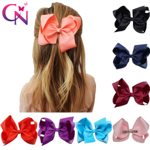 "30 Pcs/lot 6"" Plain Ribbon Knotted Hair Bow With Clip For Kids Girls Handmade Boutique Hair Accessories With Clip Headwear(China)"