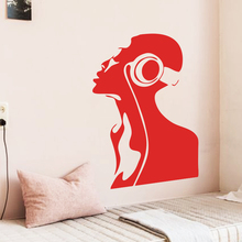 Art design cheap vinyl home decoration music girl wall sticker removable house decor fashion musician decal in bedroom or shop