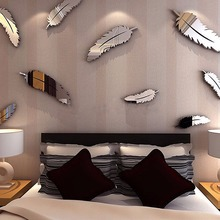 3D Feathers Mirror Wall Stickers Wallpaper DIY Home Decal Mural Room Decoration(China)