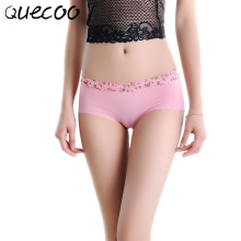 QUECOO Free 3pcs/lots Ice silk one piece of waist breathable sexy panties pure cotton stall no women's underwear