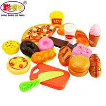 CongMingGU 20pcs/set Kitchen Toys Cutting Fruit Vegetable Play miniature Food Kids Wooden baby early education food toys(China)