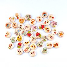 Retail 10Pcs Random Mixed 2 Holes Print Baby Style Wood Buttons 15mm Dia. Sewing Tools For Diy Clothing Accessories F0590