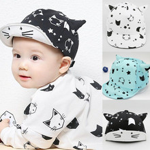 2016 New Baby Hat with Ears Beard Stars Animal Cat Cartoon Kids Baseball Hat Summer Baby Boy Sun Hats Cotton Caps Girls Visors