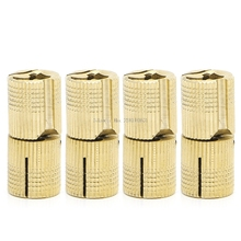 4 Pcs 14mm Brass Barrel Cabinet Cylindrical Hidden Concealed Invisible Hinge -B119(China)