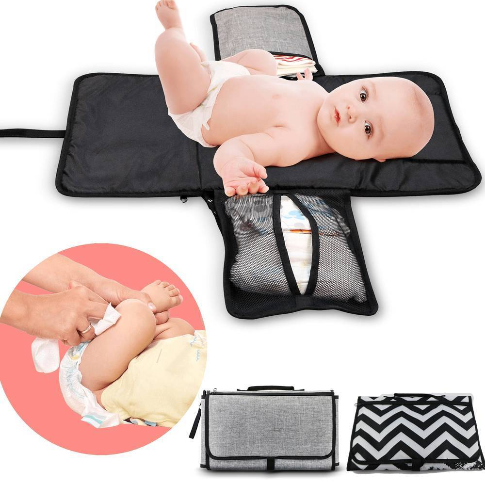 Portable Newborn Diaper Changing Pad Waterproof Head Cushion Baby Travel Changing Station Foldable Infants Diaper Bag Mat with Pockets for Diapers Wipes White