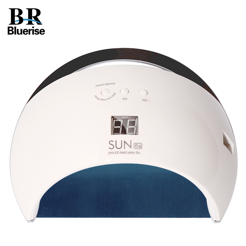 BLUERISE LED UV Lamp Nail Dryer Smart SUN6S 48W Metal Bottom LCD Timer Multicolor for Curing UV Gel Polish Nail Art Tools<br>