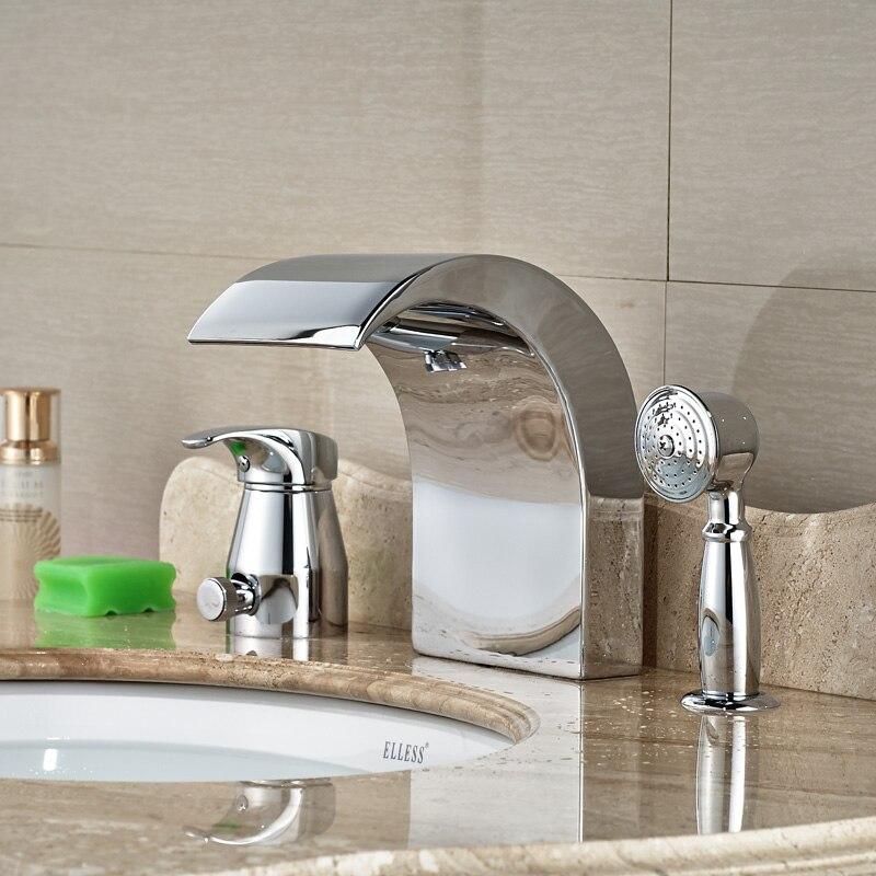 Chrome Deck Mount Widespread Bathtub Mixer Faucet 3pcs Bathroom Waterfall Bathtub Faucet with Handshower<br><br>Aliexpress