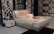simple contemporary genuine leather bed modern bedroom furniture made in China