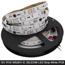 5M 12V WS2811 Addressable RGB Pixel LED Strip White PCB 30LED/M, 1 External 2811 ic Control 3 LEDs, 5050 SMD IP20 Non-Waterproof