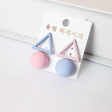 Korean Simple But Elegant Women Jewelry Sumulated Pearl Stud Earrings Jacket Geometric Triangle Shaped Cute Romantic Style(China)