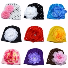 New Lovely Baby Headwear Candy Beanie Hat Big flower Beanies Toddler girls hat flower beanie hat Cotton cap(China)