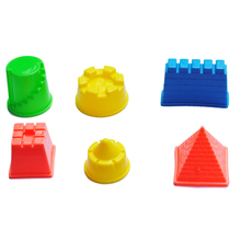 6pcs Beach toys Castle Building Mould Mars Sand Polymer Clay Candy Fimo Sculpture Super Light Clay Plasticine Mold Game Tool
