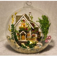 DIY Doll House Miniatura Mini Glass Ball Model Building Kits Wooden Miniature Tree House Adult and Kids Toys Birthday Gift(China)