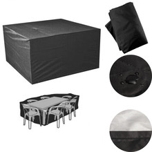 Dustproof Outdoor Patio Furniture Cover Polyester Waterproof 6 Seater Coffee Table Chair Cover Black Table Cloth Accessories