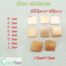 40pcs 8models 15mm x 15mm DIY Copper Heatsink thermal Pad for Laptop GPU CPU VGA Chip RAM Copper sheet