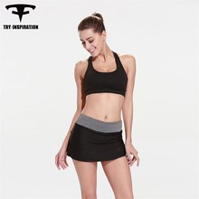 TRY.INSPIRATION 2Pcs Women Yoga Sets Sports Yoga sexy bra +yoga Skirts Suit Patchwork Irregular Dance Gym Running bra shirt set