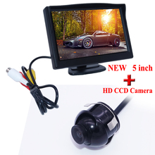 5 inch HD Rear View Mirror Monitor 2ch Video Input 800*480+360 degree rotation CCD front camera and rearview camera,FreeShipping(China)