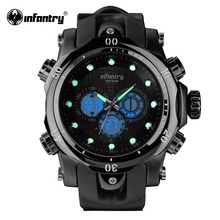 Mens Watches Top Brand Luxury INFANTRY Chronograph Sports Watch Analog-Digital Military Rubber Quartz Watch Relogio Masculino(Hong Kong)