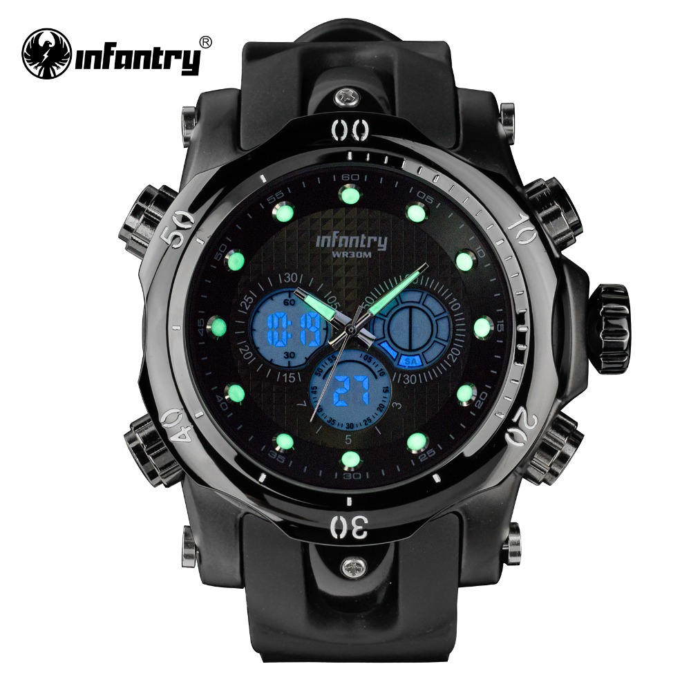 INFANTRY Mens Watches Top Brand Luxury Chronograph Alarm Clock Silicone Strap Backlight Dual Time Sports Watch Relogio Masculino<br>