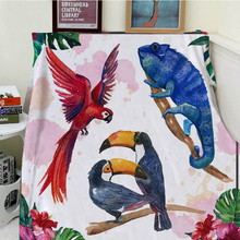 Blankets Cobertor Warmth Soft Plush Cute Animal Red Parrot Blue Chameleon Lizard Sofa Bed Throw a Blanket Thick Thin Plaid