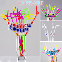 Haha Football Bird Windmill Shape Drinking Straw Drink Scalable Bent Drinking Straw Kids Birthday Party Xmas DIY Toy Decorations