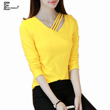 4 Colors Casual V Neck Tops New Autumn Spring Fashion Women Hollow Slim Fit T-Shirt Striped Yellow Black White Cotton T Shirts