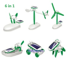 6-in-1 DIY Educational Solar Kit Toy Boat Fan Car Robot Power Moving Dog Solar Toys Assembling Educational Toy 1 Set 022