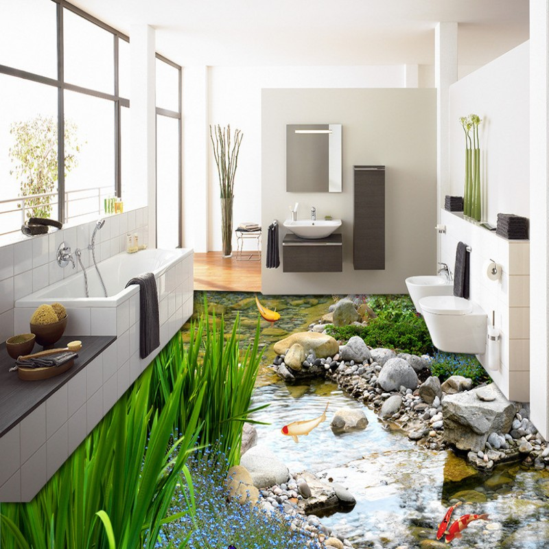 Free Shipping Park Landscape Grassland Water Carp 3D Floor Painting non-slip bedroom living room bathroom lobby flooring mural<br><br>Aliexpress