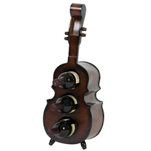 Solid Wood Red Wine Rack Creative Retro Violin Home Ornaments Decorative Shelves Waterproof Log Hotel Home Decoration #913