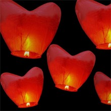 2pcs Red Love Heart Hot Air Balloon Chinese Sky Lantern Wish Balloons Party Favors