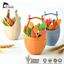 FHEAL 16pcs Green Biodegradable Wheat Straw Leaves Fruit Fork Set Party Cake Salad Vegetable Forks Picks Table Decor Tools