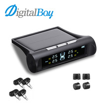 Digitalboy Auto Car TPMS Wireless Solar Tire Pressure Monitoring System Car Tyre Pressure Real Time Alarm System with Sensors(China)