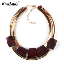 Best lady Unique Fashion Metal Color Fashion Jewelry Cheap Wood Necklaces & Pendants Statement Collar Choker Necklace Women 2297(China)