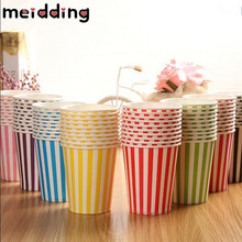 MEIDDING 10pcs 6colors Striped Paper Cups Paper Drinking Cups Wedding Decor Table Baby Shower Children Birthday Party Supplies