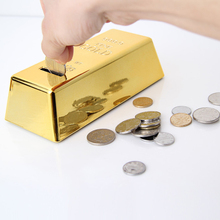1pc Creative ABS Plastic Piggy Bank Gold Bullion Brick Coin Case Saving Money Box for Kids Children Birthday Gifts Home Decor(China)